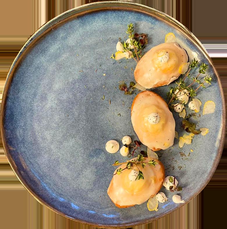 Madeleine bergamote ganache thym citron Restaurant Rotisserie Ardennaise Chef a domicile Luxembourg 2