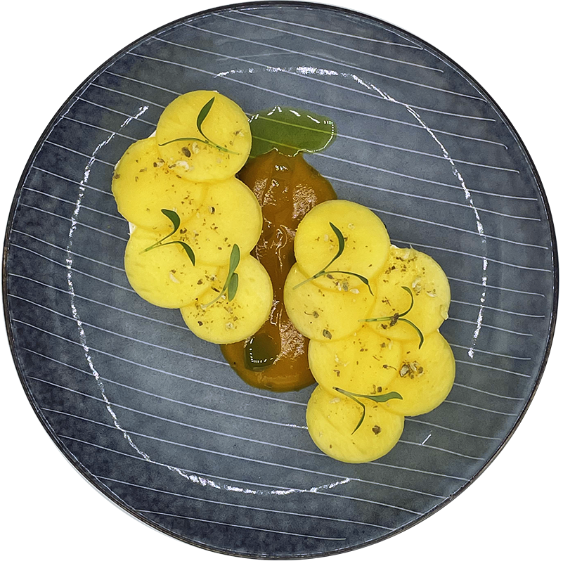 Pointrine de veau fondante Fregula Grenade Restaurant Rotisserie Ardennaise Chef a domicile Luxembourg copie