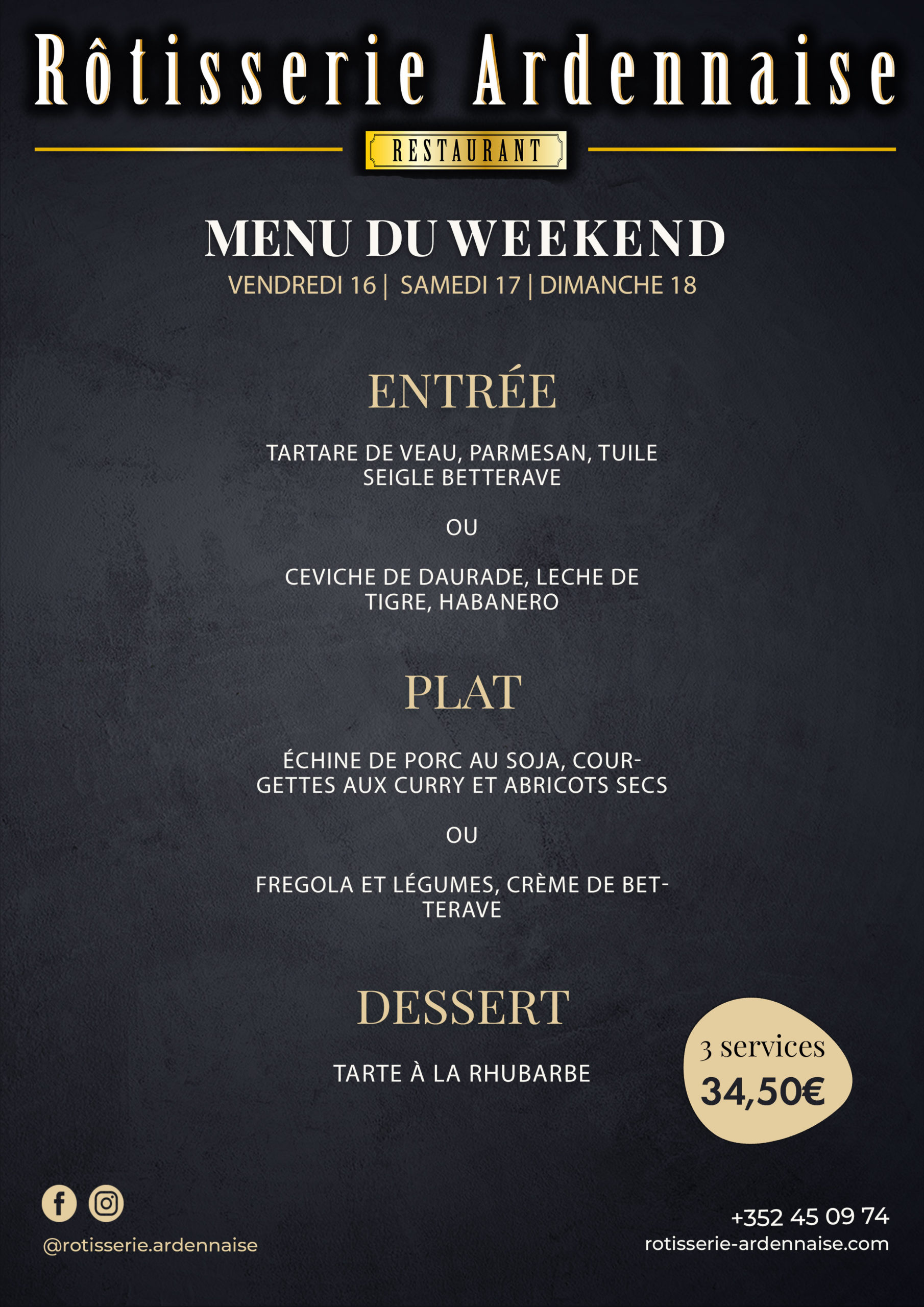 Menu du Week End Rotisserie Ardennaise Take Away Delivery Luxembourg 1 3